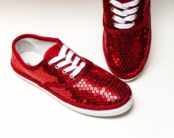 0dfa437c8452 Red Sequin Canvas Tennis Sneakers