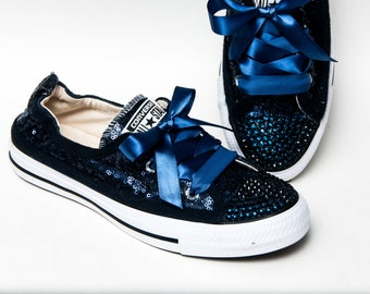 Hand Sparkled - Tiny Sequin - Navy Blue Sparkly Canvas Shoreline Converse®  Slip On Sneakers Shoes with Satin Ribbon Laces 813ade768