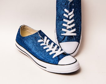 2ef37bc8f373bb Glitter - Royal Blue Canvas Converse® Low Top Sneakers Shoes