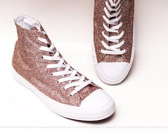 b232ea2a09cd Rose Gold Glitter All White Monochrome Converse® All Star Hi Top Sneakers