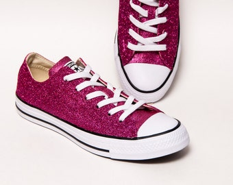 Glitter - Raspberry Pink Sparkly Canvas Customized Converse® Low Top Sneakers  Shoes 071d92539