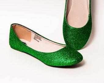 f8158f12b25a Kelly Green Glitter Ballet Flats
