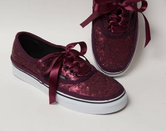 16d4f3e320cd Tiny Sequin - Burgundy Authentic Vans Canvas Classics Sneakers Shoes with Satin  Ribbon Laces