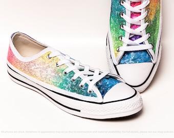 Arc en ciel Speckle paillettes multicolores Converse® basse baskets