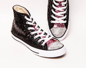 8e198b866fb0 Tiny Sequin - Two Tone Starlight Black and Blush Pink Canvas Converse® Hi  Top Sneakers with Crystal Rhinestone Toes