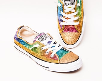 dff519b0c469 Tiny Sequin - Rainbow Multi-Colored Sparkly Canvas Shoreline Converse® Slip  On Sneakers Shoes with Glitter Toes