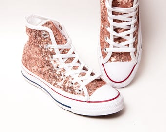 c481651c15f7 Rose Gold Sequin Converse® High Tops Sneakers