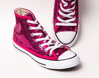 545859719e6d19 Hot Fuchsia Pink Sequin Converse Hi Top Sneakers