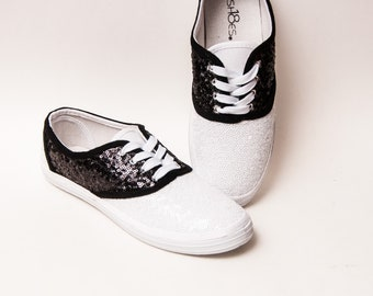 50e628ba2b78b5 Tiny Sequin - CVO - Black Over White Saddle Canvas Shoes with Satin Ribbon  Laces