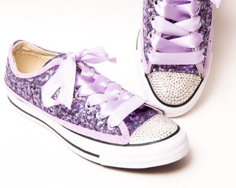 699a07195cb Tiny Sequin - Full Starlight Converse® Lavender Purple Canvas Low Top  Sneakers with Rhinestone Toes and Satin Ribbon Laces