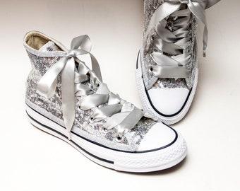 a64761d467d7c5 Silver Starlight Sequin Converse® Hi Top Sneakers
