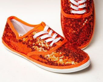 a57a787a8987 Tiny Sequin - Starlight CVO Orange Canvas Sneakers Tennis Sneakers Shoes.  princesspumps