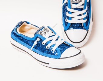 f4303d748f95 Tiny Sequin - Cobalt Blue Sparkly Canvas Shoreline Converse® Slip On  Sneakers Shoes.  129.99 FREE shipping