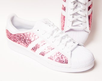 best service 85592 bad4d Tiny Sequin - Starlight Blush Pink Adidas Superstars II Fashion Sneakers  Shoes