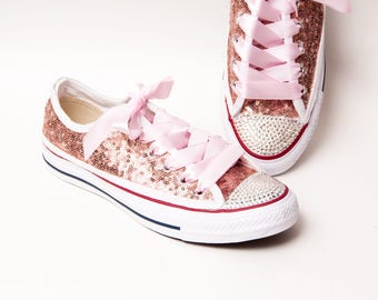 a2318db87a3 Tiny Sequin - Full Starlight Converse® Rose Gold Canvas Low Top Sneakers  with Rhinestone Toes and Satin Ribbon Laces