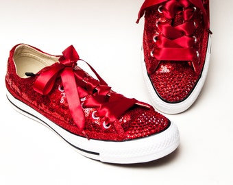 63708c562312 Very Red Starlight Sequin Converse® Low Tops