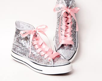 c564fa7c2f9bf0 Hand Sparkled - Tiny Sequin - Full Starlight Sterling Silver Converse® Canvas  Hi Top Sneakers Shoes with 5mm Crystal Rhinestoned Toes