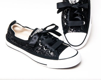 4f2c715214b1 Tiny Sequin - Starlight Black Sparkly Canvas Shoreline Converse® Slip On Sneakers  Shoes with Satin Ribbon Laces