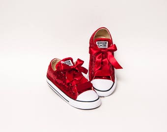 58e860fa854c Toddler - Tiny Sequin - Size Red Converse® Customized Canvas Low Tops  Sneakers Tennis Shoes with Satin Ribbon Laces