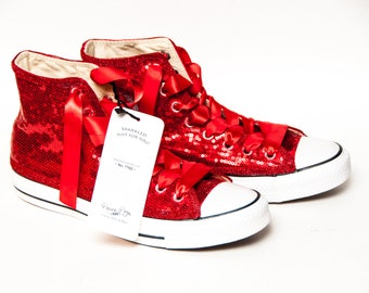 029e2502fc80 Ready to Ship - WMNS Size 8.5 Red Tiny Sequin Converse® Hi Top Sneakers  Shoes