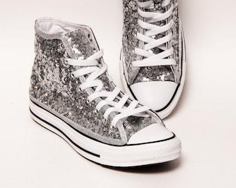 531a94e7a0c46f Silver Starlight Sequin Converse® Canvas Hi Top Sneakers