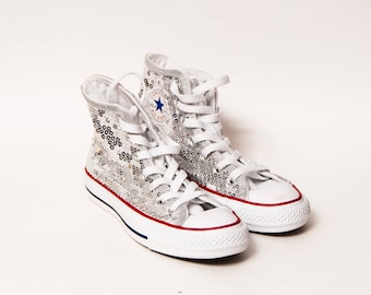 f4ab557e8b985f Ready to Ship - YOUTH Size 5.5 Sequin Silver Customized Converse® Canvas Hi  Tops Sneakers Shoes