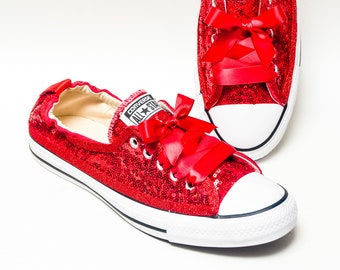 1cff0cb154d4 Tiny Sequin - Starlight Red Sparkly Canvas Shoreline Converse® Slip On  Sneakers Shoes with Satin Ribbon Laces