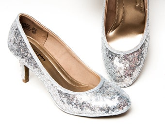 9df958e1574 Tiny Sequin - Starlight Silver High Heel Pumps Sparkly Shoes by Princess  Pumps