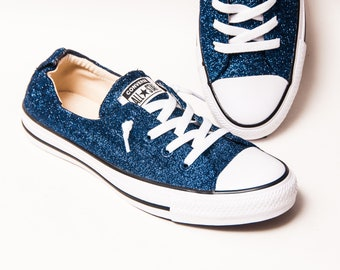 Navy Blue Glitter Shoreline Converse® Slip On Sneakers Shoes 83a08bd064af