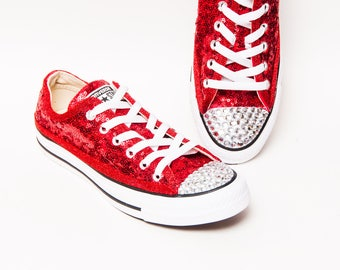 Tiny Sequin - Red Canvas Converse® Low Top Sneakers Tennis Shoes with  Crystal Rhinestone or Silver Glitter Toes 9bbf43309