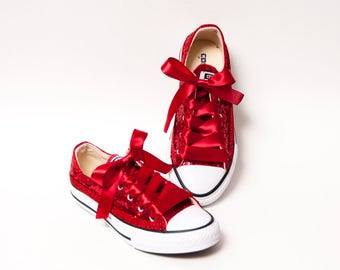 f38334e6e2f3 Youth - Tiny Sequins - Starlight Red Canvas Low Tops Sneakers Shoes with  Satin Ribbon Laces