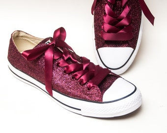 3d966cd69334 Burgundy Red Glitter Converse® Low Top Sneakers Tennis Shoes