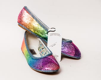 415c9381c6fc Ready to Ship - Size 9 Tiny Sequin Custom Rainbow Ballet Flats Slippers  Shoes. princesspumps