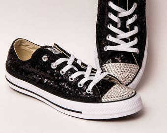 47fa3bc379aa41 Tiny Sequin - Starlight Converse® Black Canvas Low Top Sneakers with Rhinestone  Toes Shoes