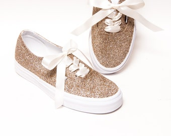 f03bb47fe5f8 Champagne Glitter Vans Authentic Sneakers
