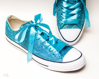 Hawaii Blue Glitter Canvas Converse® Low Top Sneakers Shoes 5b1722252