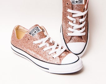 f53494e137a Rose Gold Glitter Converse® All Star Low Top Sneakers