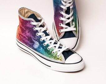 944788d51648 Rainbow Over Navy Starlight Sequin Converse® Hi Tops