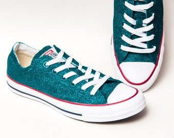 2a8482c8e6f232 Glitter - Teal Tropical Blue Canvas Converse® All Star Low Top Sneakers  Shoes