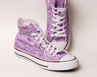 0dd81bec5a3c Tiny Sequin - Starlight Lilac Purple Over White Converse® Hi Top Canvas  Sneaker Shoes
