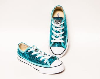 Youth - Sequin - Jade Turquoise Blue Converse® Canvas Low Tops Sneakers  Shoes b349b48e2