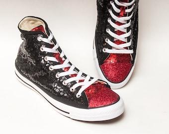 8ea82188b67a Two Tone Black   Red Starlight Sequin Hi Top Converse® Sneakers