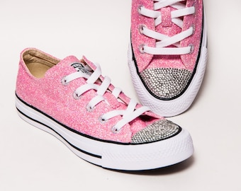 7cba0a5ff503 Glitter - Bubblegum Pink Low Top Sneakers Tennis Shoes with Crystal  Rhinestone Glitter Toes