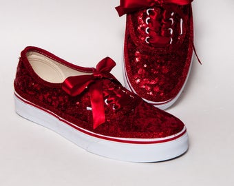 c0e715b6a07e Red Starlight Sequin Vans Authentic Classic Sneakers