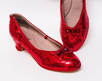 52e9a1b59402 Red French Heels Sequin Shoes