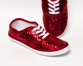 Red Starlight Sequin Canvas Sneakers ae243b0569