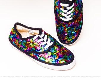efd9c7e1c419 Rainbow Pride Sequin Canvas Sneakers