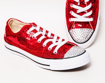 Sequin - Red Canvas Customized Converse® Low Top Sneakers Tennis Shoes with  Crystal Rhinestone or Silver Glitter Toes c830a35cb2bb