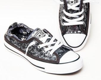 7721f5638b8d0 Petites paillettes - gris acier brillant toile rivage Converse® Slip On  baskets chaussures