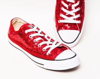 0993cb52c57c Red Starlight Sequin Converse® Low Tops